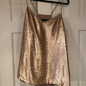 Banana Republic rose gold sequined camisole XL